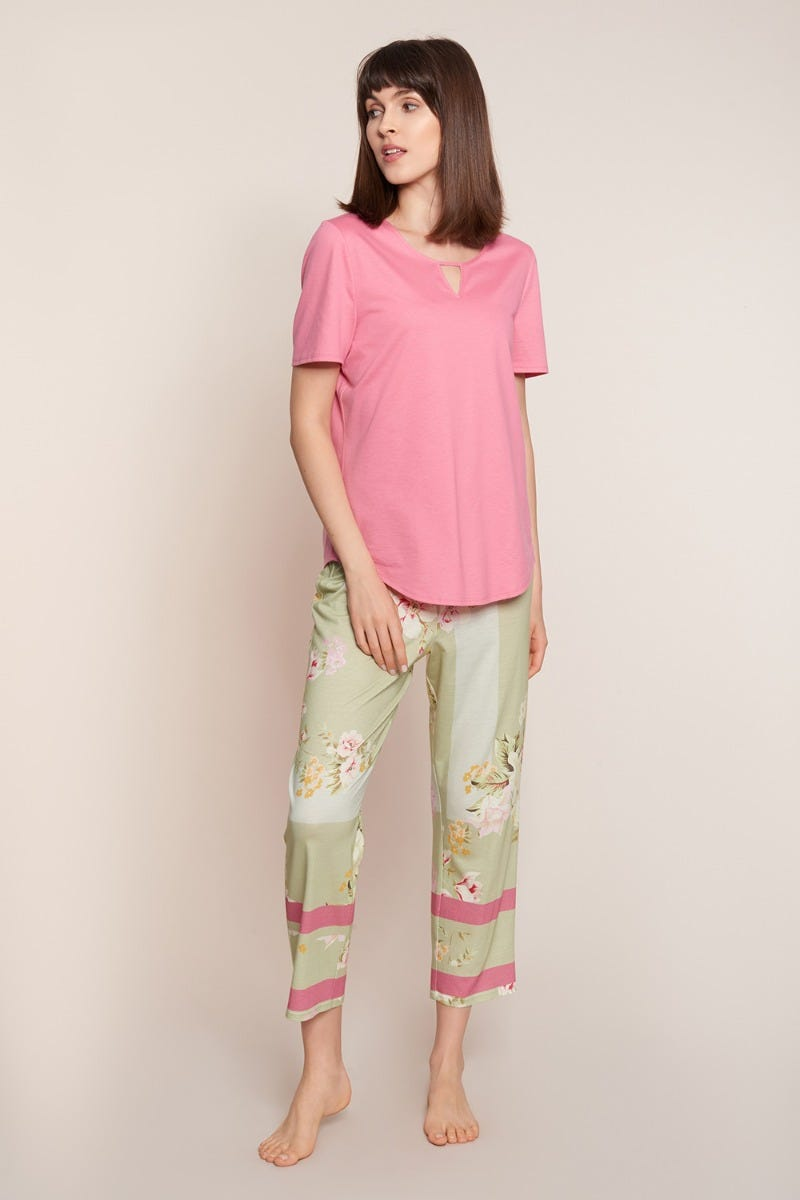 Pyjama mit Blumendessin Spring flowers geblümt pastellfarben Baumwolle/Modal 3211002