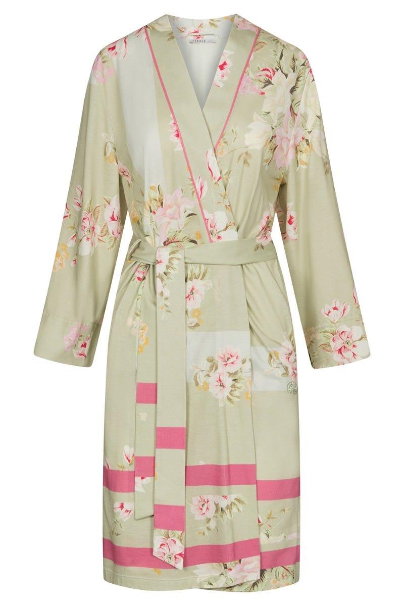 Morgenmantel im Blumendessin Spring flowers geblümt pastellfarben Baumwolle/Modal 3211003