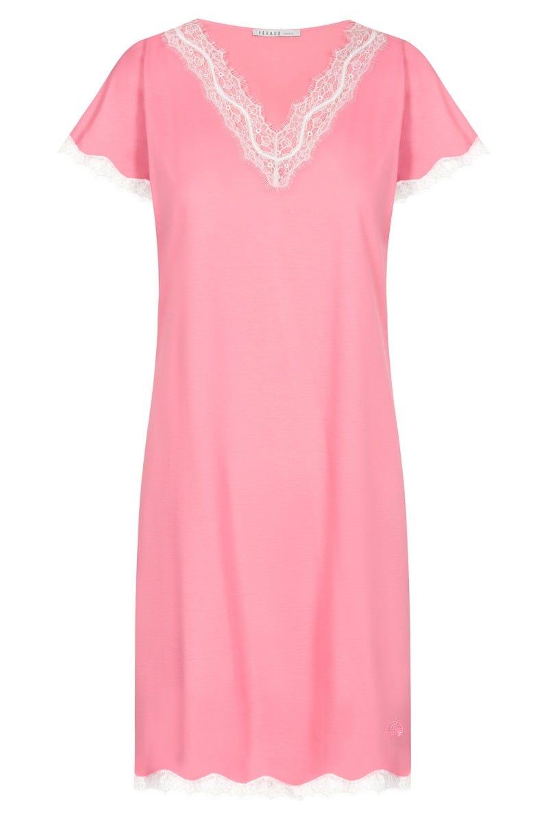 Bigshirt mit kontrastfarbenen Spitzendetails romantisch Baumwolle 3211005