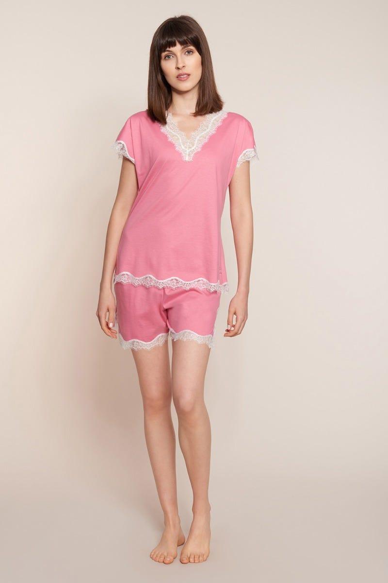 Pyjama kurz mit kontrastfarbenen Spitzendetails romantisch Shorty Baumwolle 3211006