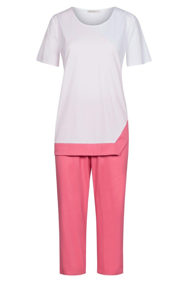 Pyjama mit Farbflächenteiler asymmetrisch modern grafisch 100% Baumwolle 3211010