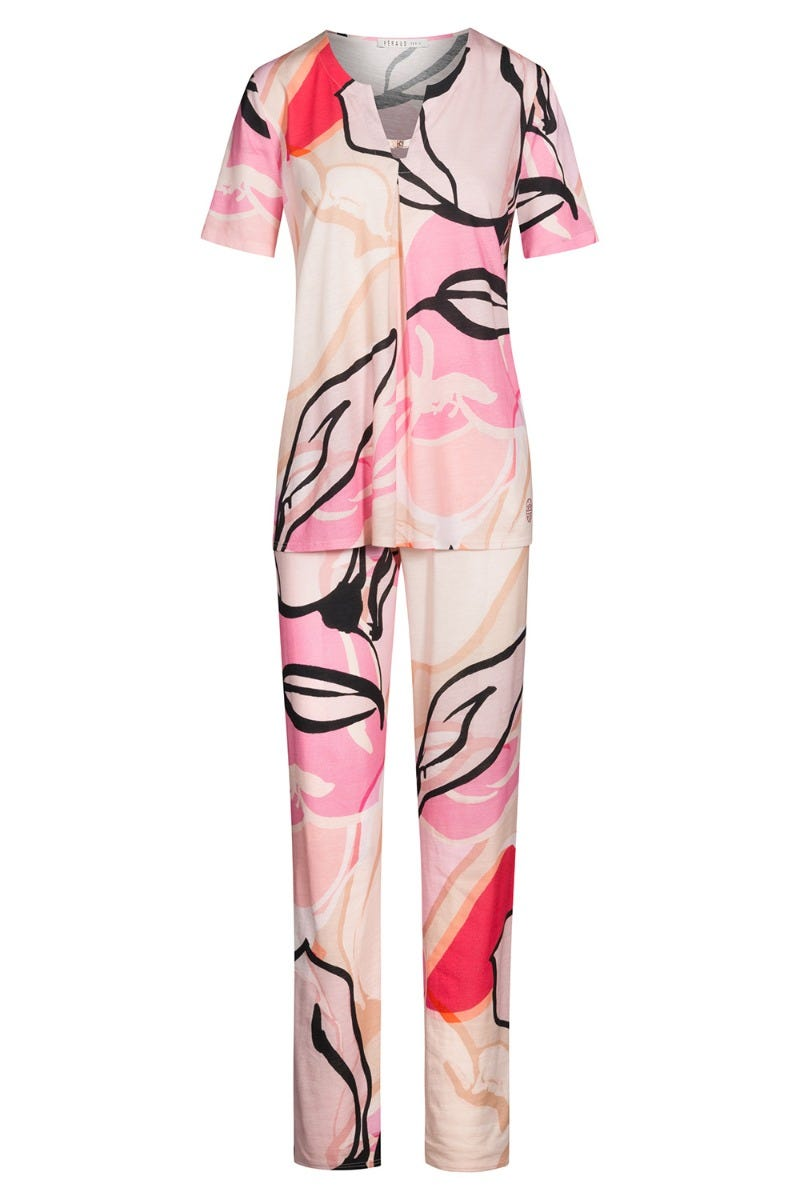 Pyjama kurz im modernen Artprint grafisch Baumwolle/Modal 3211013