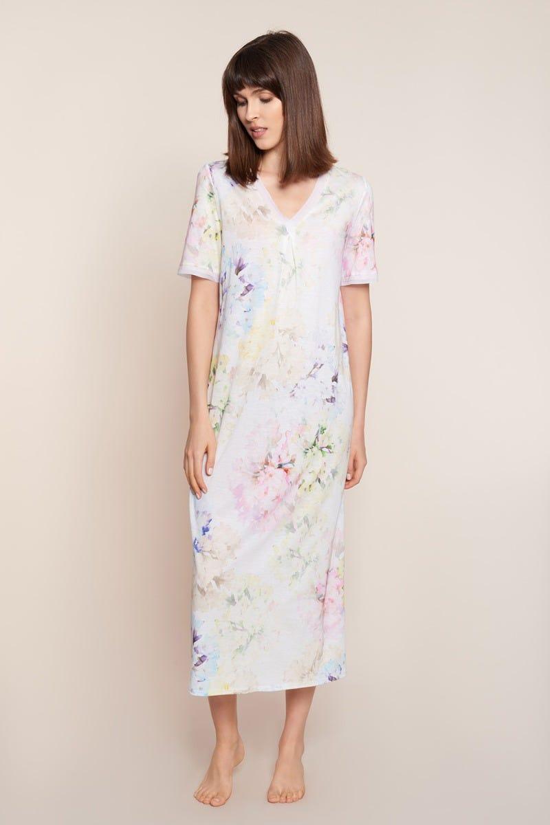 Nachtkleid im pastelligen Blumenprint Maxilänge Baumwolle/Modal 3211014