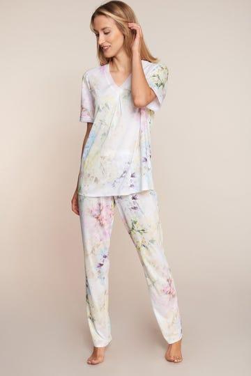 Pyjama im pastelligen Blumenprint romantisch Baumwolle/Modal 3211015