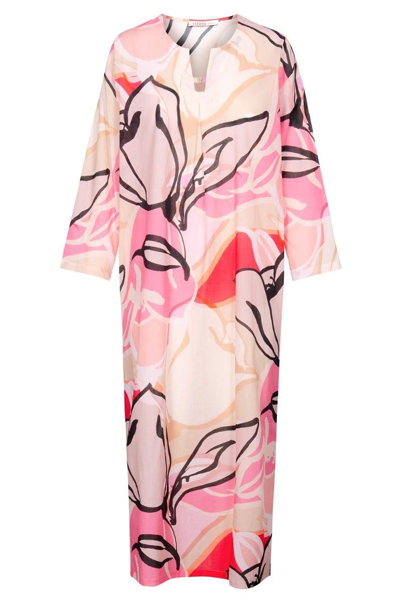 Nachtkleid im modernen Artprint Kaftan grafisch Maxilänge Webstoff 100% Baumwolle 3211017