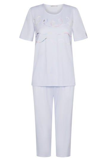 Pyjama kurz mit dekorativen Zierbändern 100% Baumwolle 3211022