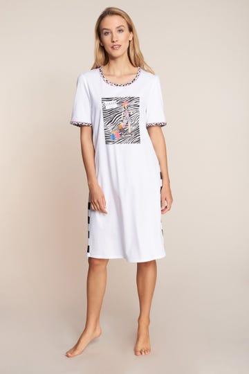 Sleepshirt mit Printmotiv Fashion gestreift Animalprint 100% Baumwolle 3211027