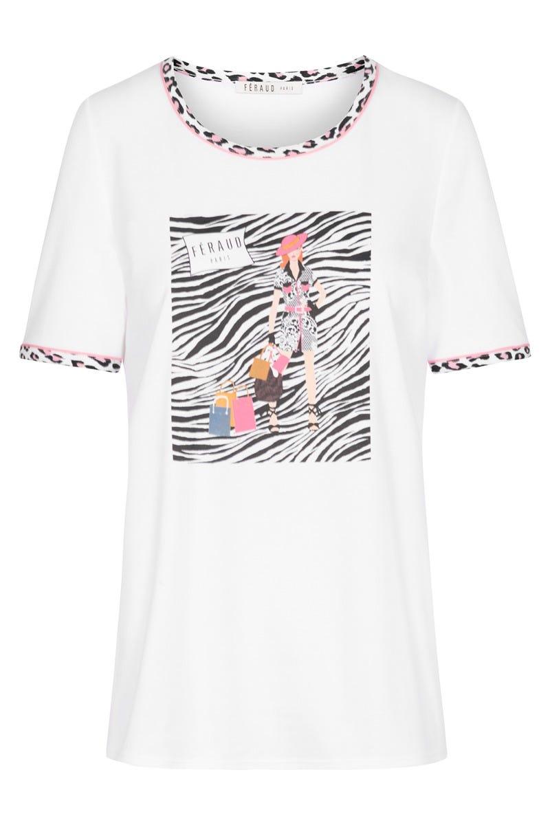 T-Shirt mit Printmotiv Fashion gestreift Animalprint Freizeitshirt 100% Baumwolle 3211028