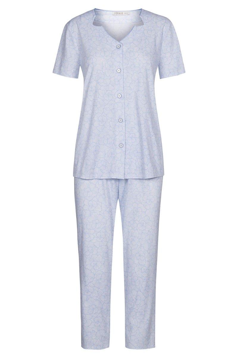 Pyjama im gezeichneten Flowerprint monochrom Knopfleiste 100% Baumwolle 3211032