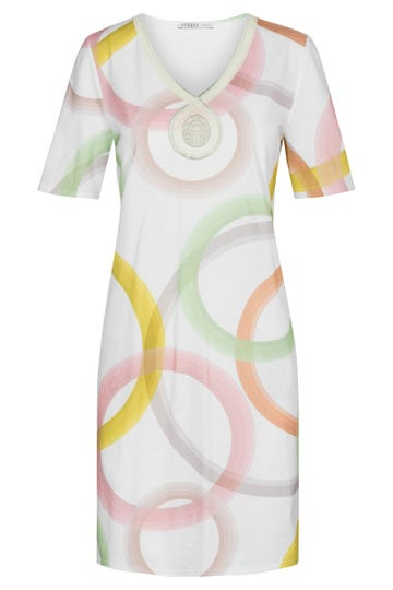 Nachthemd im Grafikprint Circles kreisförmig Stickerei frühlingsfarben 100% Baumwolle 3211035