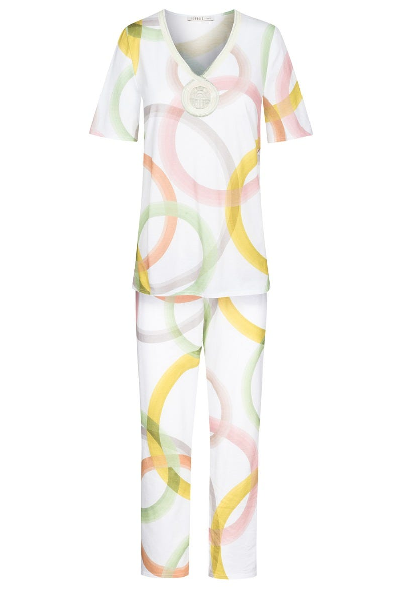 Pyjama im Grafikprint Circles kreisförmig Stickerei frühlingsfarben 100% Baumwolle 3211036