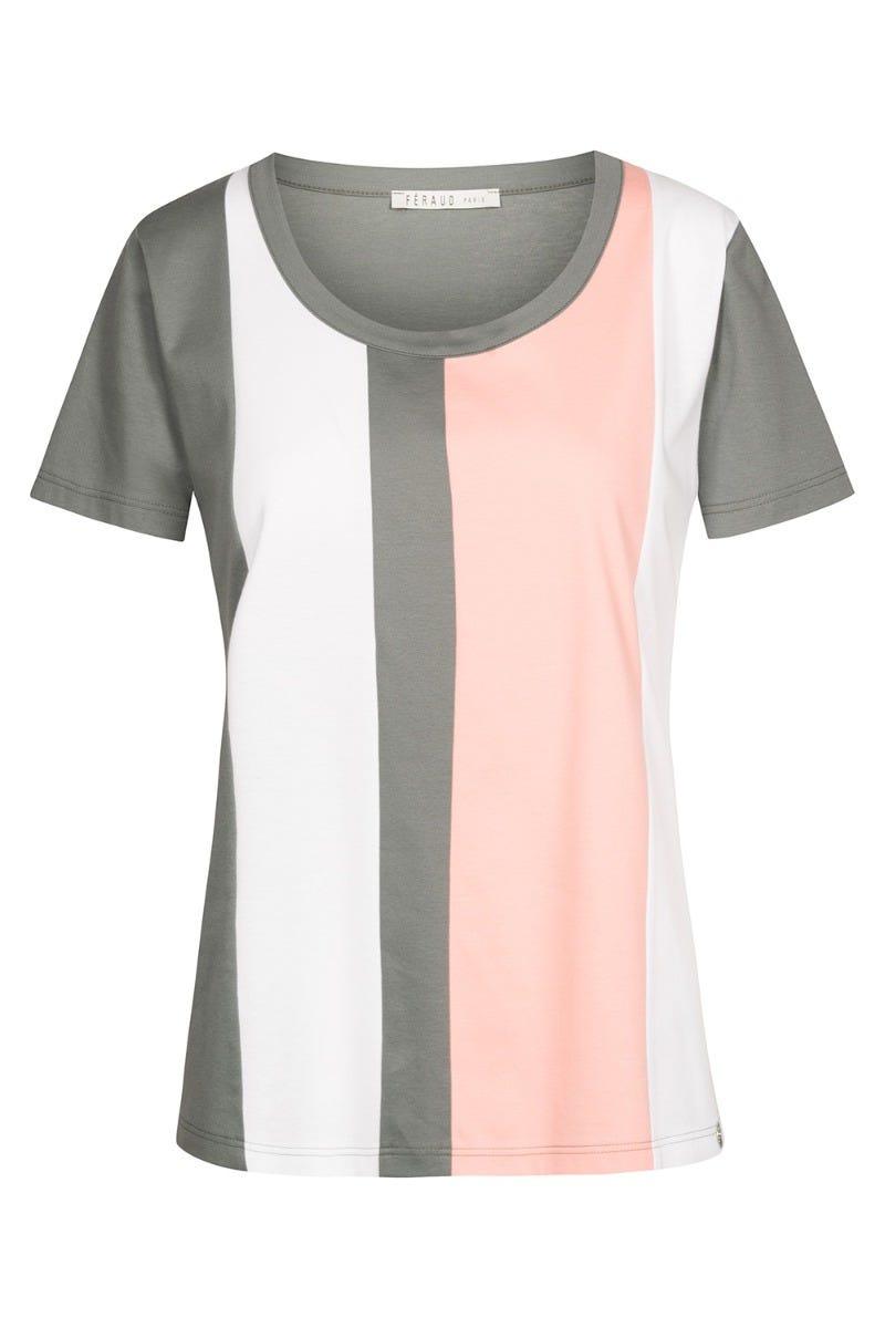 T-Shirt im Streifenprint Blockstreifen Flächenteiler 100% Baumwolle 3211039