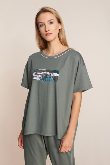 T-Shirt mit Logomotiv Oversize Olivgrün sportiv 100% Baumwolle 3211041
