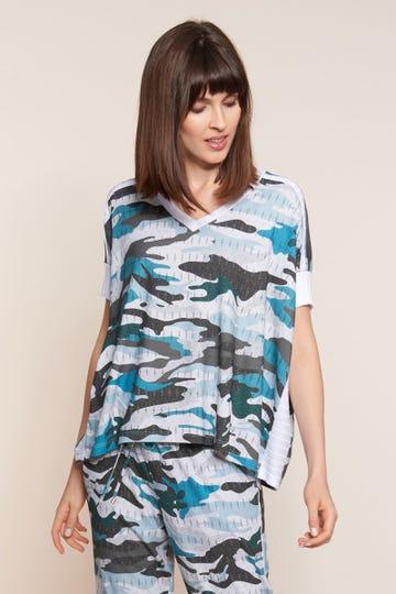 T-Shirt im Camouflage-Print Oversize Strickdetails Viskose/Elasthan 3211044