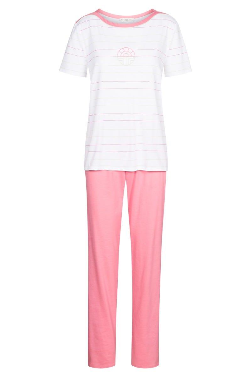 Pyjama mit Logomotiv Ringelprint Bicolor gestreift pastellfarben 100% Baumwolle 3211050