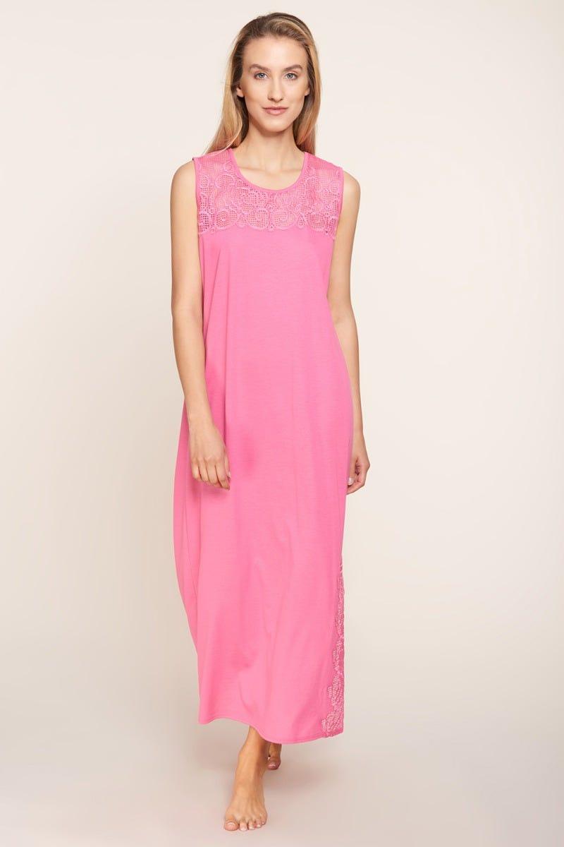 Nachtkleid mit hochwertigen Stickereien ärmellos dekorativ einfarbig Maxilänge Baumwolle/Polyester 3211051