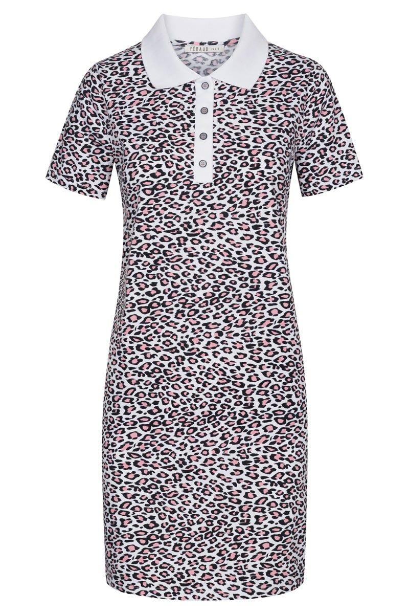 Freizeitkleid im Leoprint Animalprint Polokragen Knopfleiste Shirtkleid Baumwolle/Elasthan 3211054
