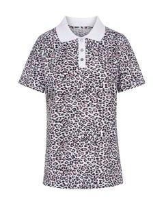 T-Shirt im Leoprint Animalprint Poloshirt Kragen Knopfleiste Baumwolle/Elasthan 3211055