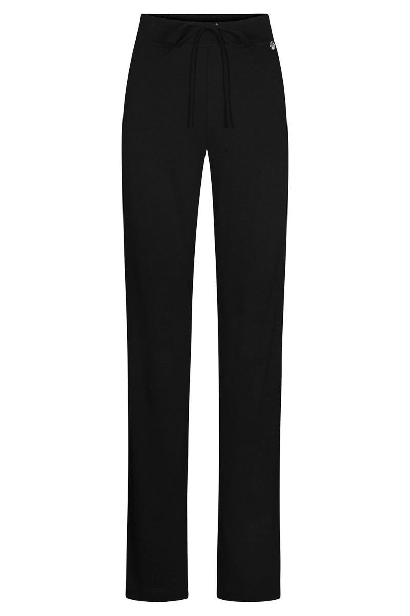 Basic Loungehose in Schwarz Strickware Uni sportiv Materialmix 3211058