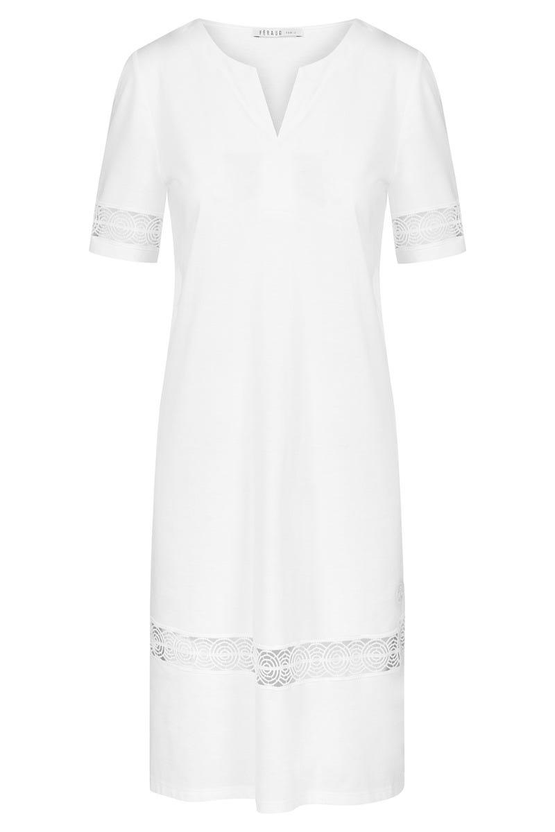 Bigshirt mit filigranen Stickereibändern elegant Tunika-Look 100% Baumwolle 3211066