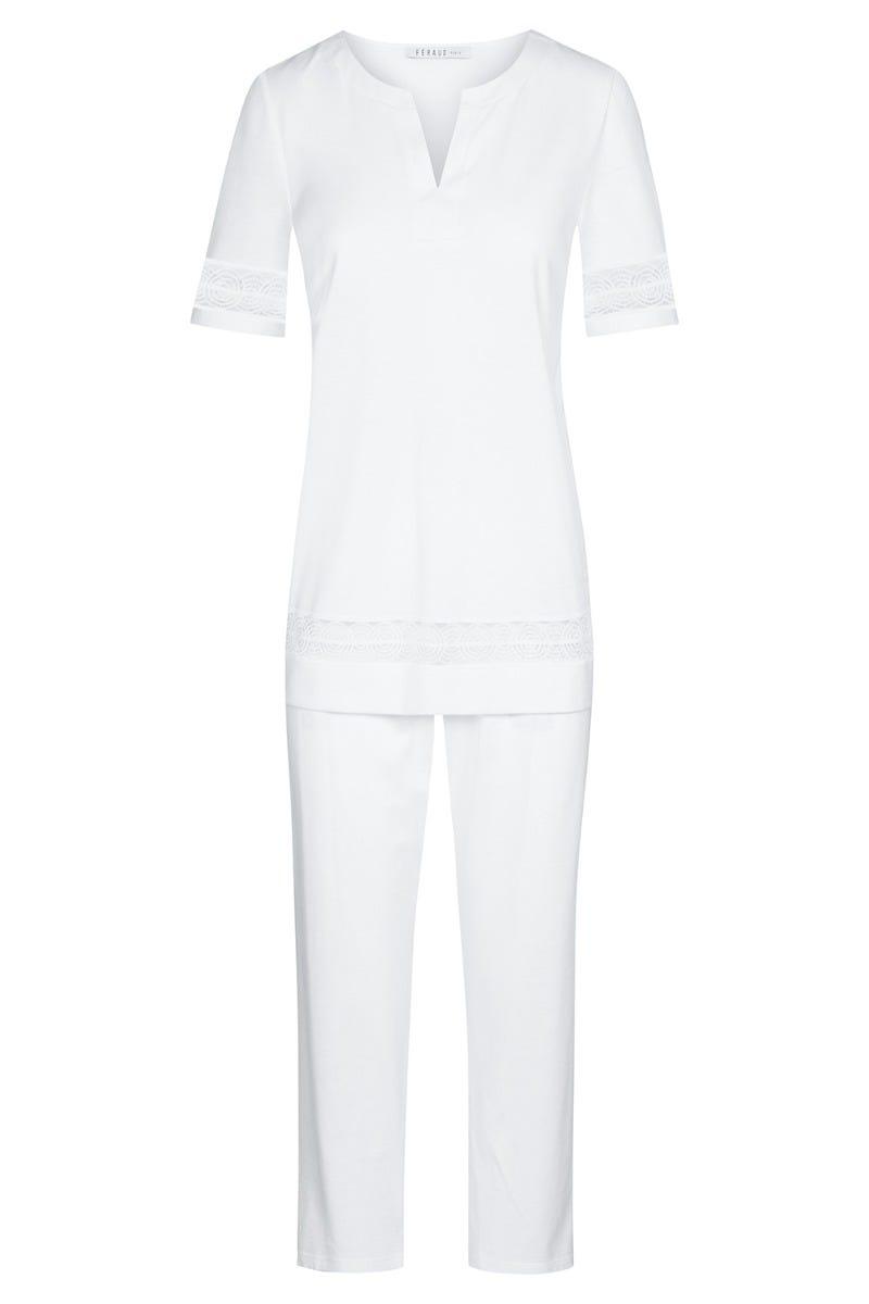 Pyjama mit filigranen Stickereibändern elegant Tunika-Look 100% Baumwolle 3211067