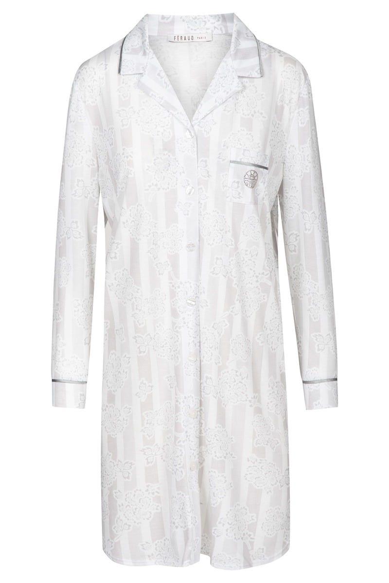 Bigshirt im Mustermix Streifen Blumen Herrenhemdstil Silber Strass Baumwolle/Modal 3211069