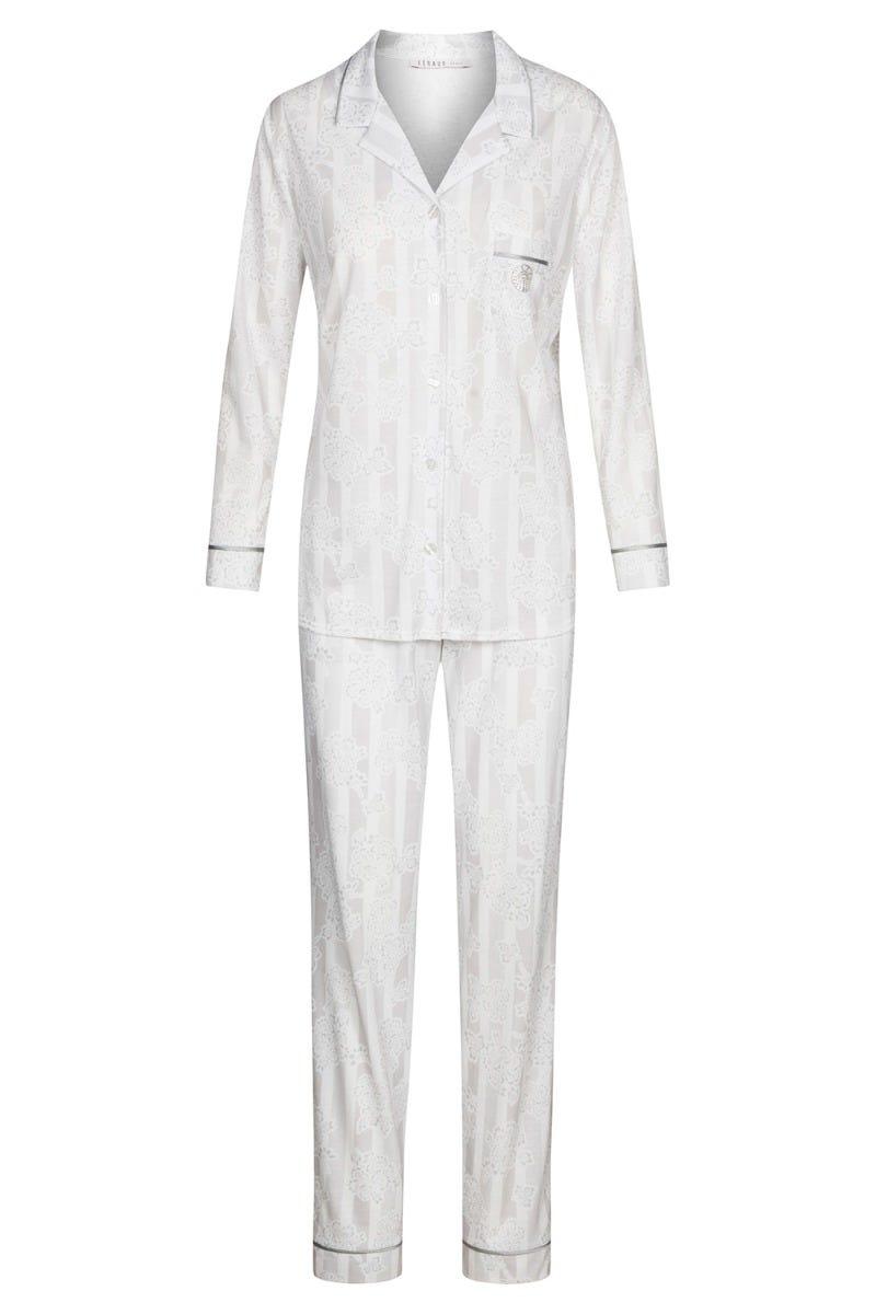 Pyjama im Mustermix Streifen Blumen Herrenhemdstil Silber Strass Baumwolle/Modal 3211070