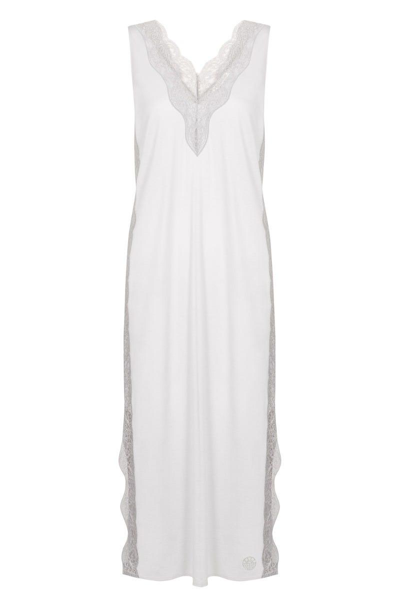 Nachtkleid ärmellos mit opulenten Spitzendetails feiner Nadelzug Viskose/Baumwolle 3211072