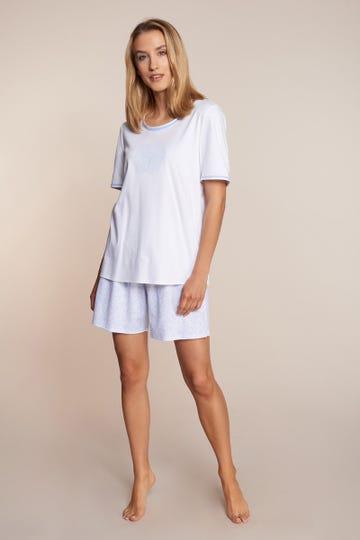 Pyjama kurz im gezeichneten Flowerprint Motivdruck Blossom 100% Baumwolle 3211076