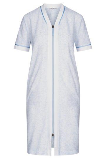 Frottee-Hauskleid im gezeichneten Flowerprint monochrome Reißverschluss 3211077