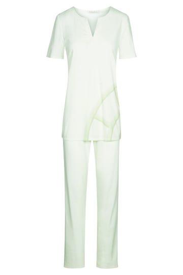 Pyjama mit Logoprint in Pistazie Motivdruck simple clean 100% Baumwolle 3211083