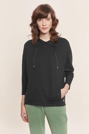 Sweatshirt mit Ziernähten in Schwarz Hoodie Oversize Mix & Match Lyocell/Baumwolle/Elasthan