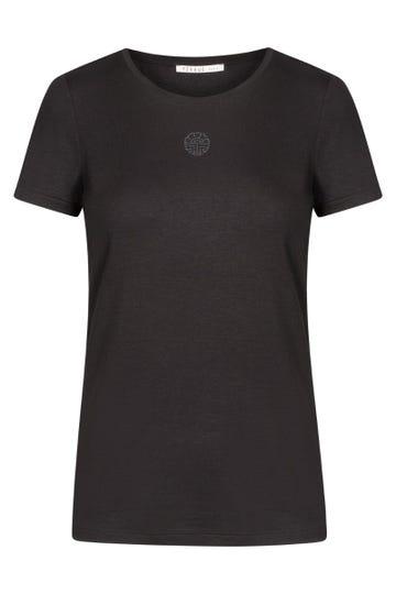 Basic T-Shirt mit Strassmotiv in Schwarz Mix & Match Viskose/Elasthan