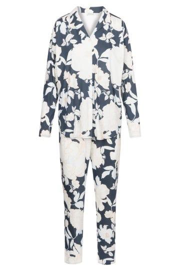 Pyjama im Blumendruck romantisch Knopfleiste Baumwolle/Modal