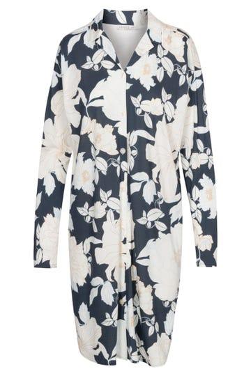 Bigshirt im Blumendruck romantisch Knopfleiste Baumwolle/Modal
