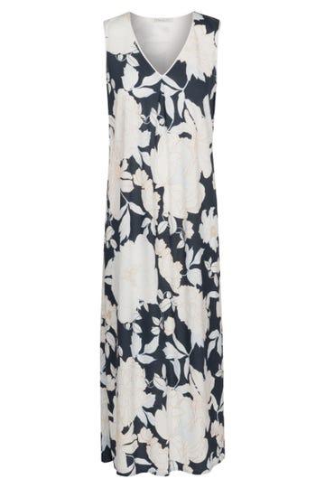 Nachtkleid ärmellos im Blumendruck romantisch Maxilänge Baumwolle/Modal