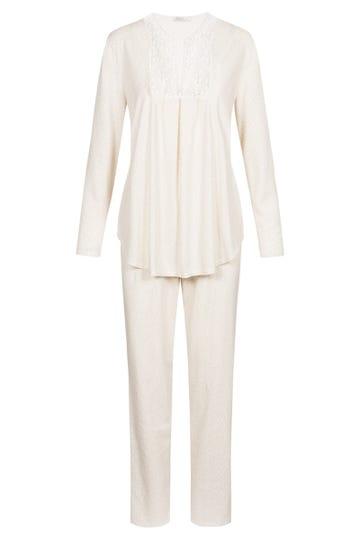 Pyjama im minimalistischem Blätterprint Stickereimotiv romantisch 100% Baumwolle