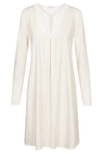Bigshirt im minimalistischem Blätterprint Stickereimotiv romantisch 100% Baumwolle
