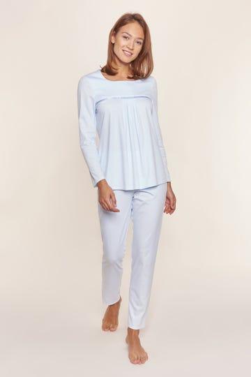 Pyjama mit Faltendetails puristisch verspielt 100% Baumwolle
