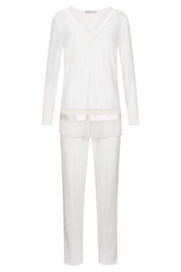 Pyjama mit edler Spitzenverarbeitung Satinbänder Baumwolle