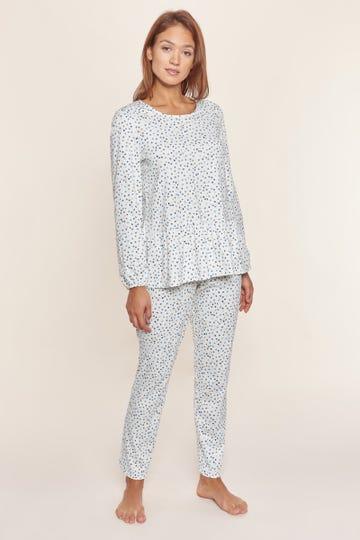 Pyjama im Tupfendruck Volants verspielt 100% Baumwolle