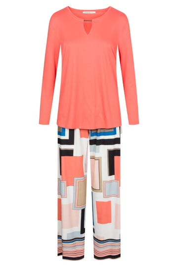 Pyjama mit Grafikdessin Farbflächen Geometrie rechteckig grafisch 100% Baumwolle