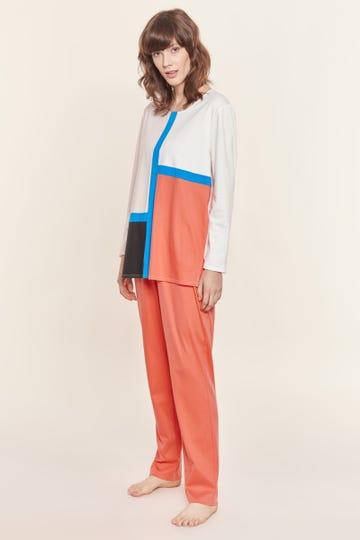 Pyjama mit Colour-Blocking Grafikprint Farbflächen grafisch 100% Baumwolle