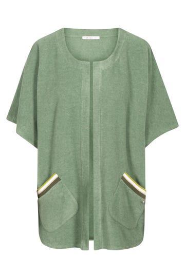 Loungejacke kurzarm mit Strickbündchen Fleece in Pistazie Cape Überwurf kuschelig Mix & Match Polyester/Viskose