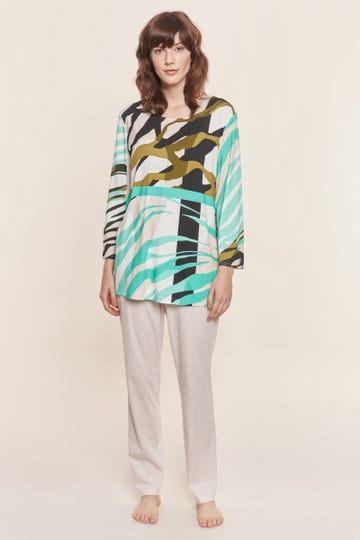 Pyjama mit modernem Animalprint grafisch Viskose/Elasthan