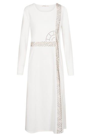 Nachtkleid mit Logodetail und Grafikeinsätzen Maxilänge 100% Baumwolle