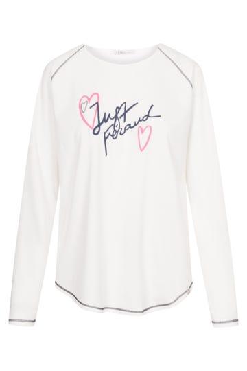 Langarmshirt mit Statementprint sportiv 100% Baumwolle