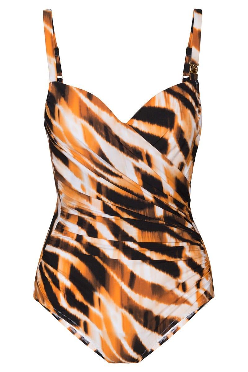 Shaping Badeanzug im Tigerprint gewickelt exotisch Jungle gerafft Animal Print 3215002