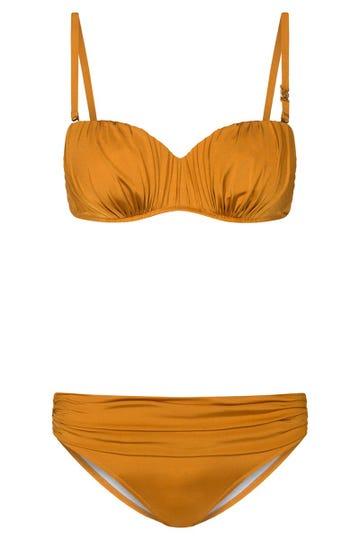 Bikini aus Glanzmaterial Gold gerafft Bandeau abnehmbare Träger 3215005