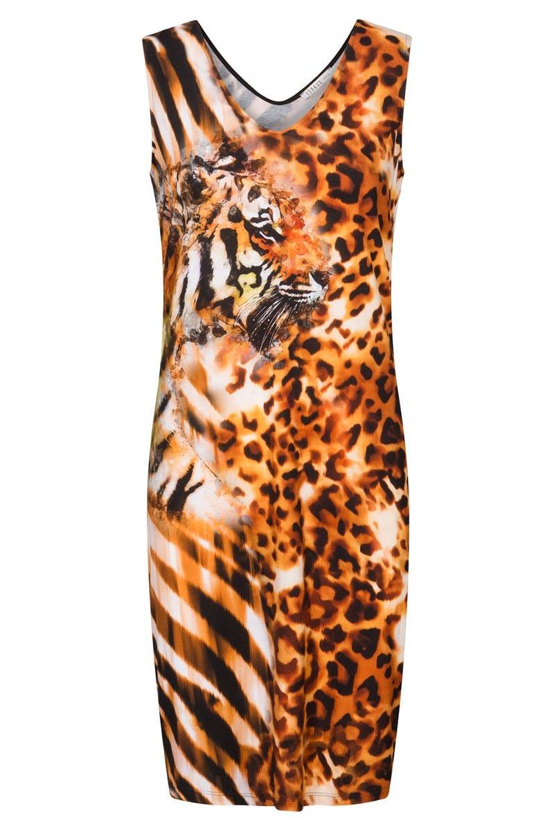 Strandkleid im Tigerprint Motivdruck exotisch Animalprint 3215010